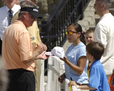 John Harris greets fans after finishing the third round of the JELD-WEN Tradition at The Reserve Vineyards & Golf Club in Aloha, Oregon on Saturday, August 26, 2006.Photo by Steve Levin/WireImage.com