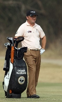 DELHI, INDIA - FEBRUARY 07:  Damien McGrane of Ireland waits to hit his second shot to the 10th hole during the first round of the Emaar-MGF Indian Masters at the Delhi Golf Club, on February 7, 2008 in Delhi, India.  (Photo by David Cannon/Getty Images)