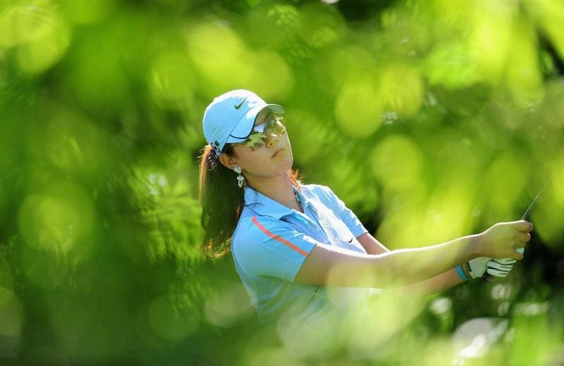 EVIAN-LES-BAINS, FRANCE - JULY 25:  Michelle Wie of USA during the third round of the Evian Masters at the Evian Masters Golf Club on July 25, 2009 in Evian-les-Bains, France.  (Photo by Stuart Franklin/Getty Images)