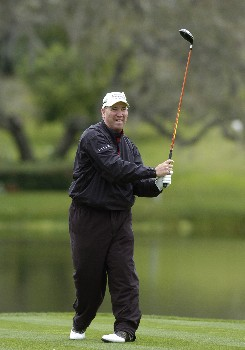 Duffy Waldorf drives from the 16th tee as second-day play resumes in  the first round of the Bay Hill Invitational March 18, 2005 in Orlando.