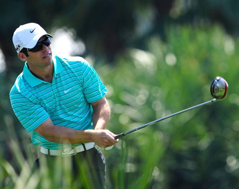 PALM BEACH GARDENS, FL - MARCH 06:  Paul Casey of England hits a shot during the third round of the Honda Classic at PGA National Resort And Spa on March 6, 2010 in Palm Beach Gardens, Florida.  (Photo by Sam Greenwood/Getty Images)