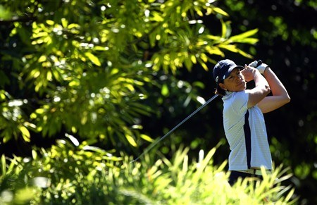 EVIAN, FRANCE - JULY 24:  Juli Inkster of USA hits her tee-shot on the third hole during the first round of the Evian Masters at the Evian Masters Golf Club on July 24, 2008 in Evian, France.  (Photo by Andrew Redington/Getty Images)