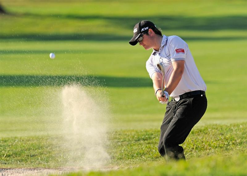 CASTELLON DE LA PLANA, SPAIN - OCTOBER 24:  Gary Boyd of England plays his bunker shot on the 17th hole during the final round of the Castello Masters Costa Azahar at the Club de Campo del Mediterraneo on October 24, 2010 in Castellon de la Plana, Spain.  (Photo by Stuart Franklin/Getty Images)