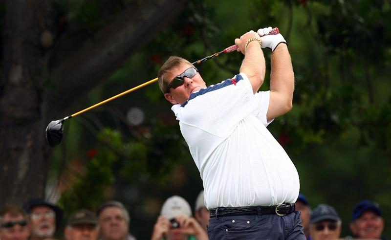 SYDNEY, AUSTRALIA - DECEMBER 10: John Daly of the USA tees off on the tenth hole during the pro am ahead of the 2008 Australian Open at The Royal Sydney Golf Club on December 10, 2008 in Sydney, Australia.  (Photo by Mark Nolan/Getty Images)
