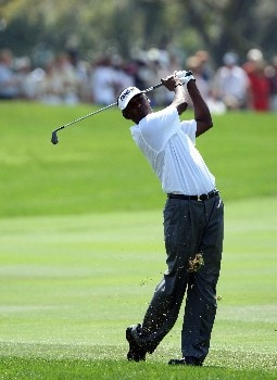 ORLANDO, FL - MARCH 16:  Vijay Singh of Fiji watches his second shot at the 1st hole during the final round of the 2008 Arnold Palmer Invitational presented by MasterCard at the Bay Hill Golf Club and Lodge, on March 16, 2008 in Orlando, Florida.  (Photo by David Cannon/Getty Images)