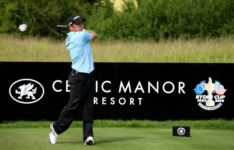 NEWPORT, WALES - JUNE 04:  Paul McGinley of Ireland tee's off at the 2nd during the first round of the Celtic Manor Wales Open on the 2010 Course at The Celtic Manor Resort on June 4, 2009 in Newport, Wales.  (Photo by Richard Heathcote/Getty Images)