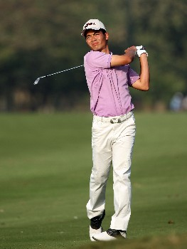 NEW DELHI, INDIA - FEBRUARY 29:  Wen-chong Liang of China hits his second shot at the 18th hole during the second round of the 2008 Johnnie Walker Classic held at The DLF Golf and Country Club on February 29, 2008 in New Delhi, India.  (Photo by David Cannon/Getty Images)