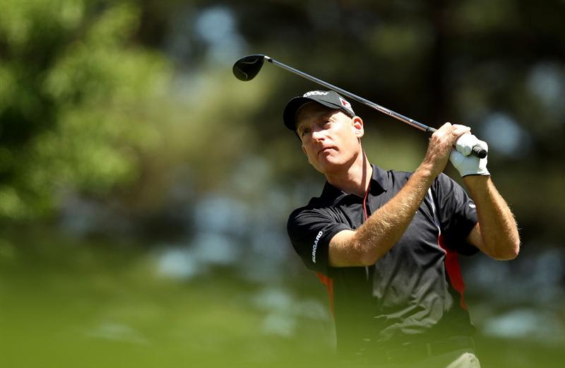 CHARLOTTE, NC - APRIL 29:  Jim Furyk watches his tee shot on the 6th hole during the first round of the Quail Hollow Championship at Quail Hollow Country Club on April 29, 2010 in Charlotte, North Carolina.  (Photo by Streeter Lecka/Getty Images)