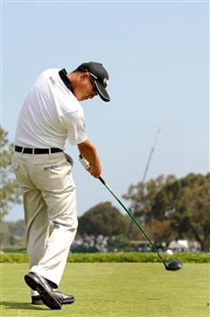 SAN DIEGO - JUNE 11:  Toru Taniguchi of Japan hits a tee shot during the third day of previews to the 108th U.S. Open at the Torrey Pines Golf Course (South Course) on June 11, 2008 in San Diego, California.  (Photo by Harry How/Getty Images)