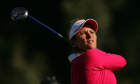 RANCHO MIRAGE, CALIFORNIA - MARCH 30:  Nicole Perrot of Chile watches her tee shot on the second hole during the second round of the Kraft Nabisco Championship at Mission Hills Country Club on March 30, 2007 in Rancho Mirage, California.  (Photo by Scott Halleran/Getty Images)