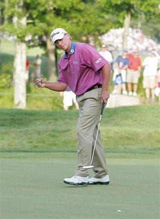 NORTON, MA - SEPTEMBER 07:  Steve Stricker reacts as his birdie putt drops on the 17th hole during the final round of the Deutsche Bank Championship at TPC Boston held on September 7, 2009 in Norton, Massachusetts.  (Photo by Michael Cohen/Getty Images)