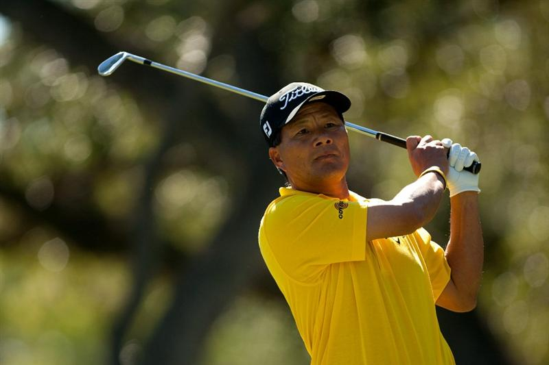 SAN ANTONIO, TX - OCTOBER 30: Chien Soon Lu of Taiwan follows through on a tee shot during the second round of the AT&T Championship at Oak Hills Country Club on October 30, 2010 in San Antonio, Texas. (Photo by Darren Carroll/Getty Images)