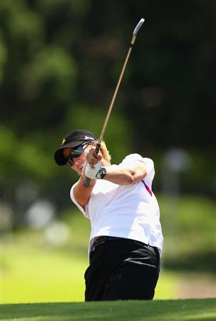 GOLD COAST, AUSTRALIA - MARCH 04:  Karrie Webb of Australia plays an iron shot on the 8th hole during round one of the 2010 ANZ Ladies Masters at Royal Pines Resort on March 4, 2010 in Gold Coast, Australia.  (Photo by Ryan Pierse/Getty Images)