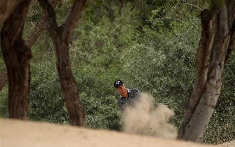 DUBAI, UNITED ARAB EMIRATES - FEBRUARY 05:  Alexander Noren of Sweden plays his second shot on the 16th hole during the second round of the Omega Dubai Desert Classic on February 5, 2010 in Dubai, United Arab Emirates.  (Photo by Andrew Redington/Getty Images)
