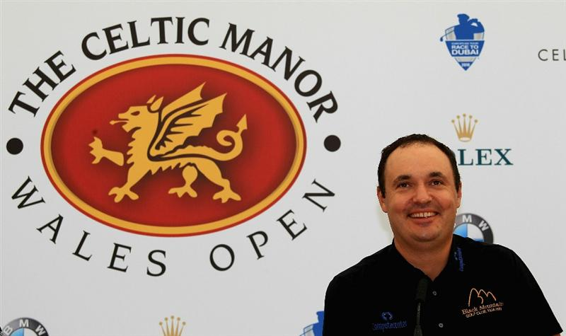 NEWPORT, WALES - JUNE 02:  Simon Khan of England addresses a press conference during the Pro-Am for the Celtic Manor Wales Open on The Twenty Ten Course on June 2, 2010 in Newport, Wales.  (Photo by Warren Little/Getty Images)