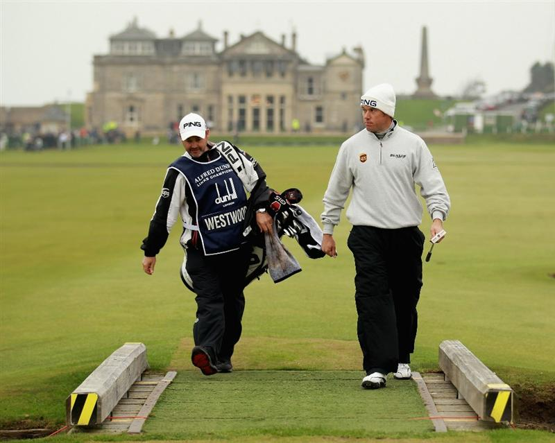 ST ANDREWS, SCOTLAND - OCTOBER 10:  Lee Westwood of England walks over the burn on the first hole during the final round of The Alfred Dunhill Links Championship at The Old Course on October 10, 2010 in St Andrews, Scotland.  (Photo by Warren Little/Getty Images)