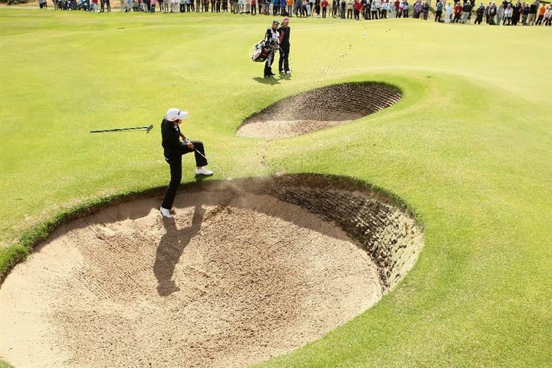 LYTHAM ST ANNES, ENGLAND - AUGUST 01:  Song-Hee Kim of Korea hits out of a bunker on the 12th hole during the third round of the 2009 Ricoh Women's British Open Championship held at Royal Lytham St Annes Golf Club, on August 1, 2009 in Lytham St Annes, England.  (Photo by Warren Little/Getty Images)