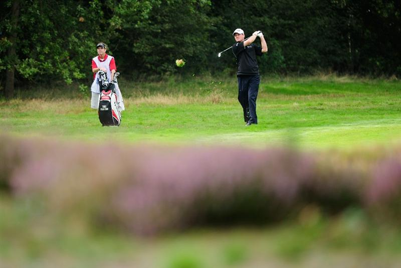 HILVERSUM, NETHERLANDS - SEPTEMBER 12:  Todd Hamilton of USA plays his approach shot on the 16th hole during the final round of  The KLM Open Golf at The Hillversumsche Golf Club on September 12, 2010 in Hilversum, Netherlands.  (Photo by Stuart Franklin/Getty Images)