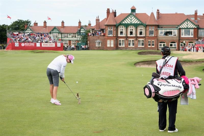 LYTHAM ST ANNES, ENGLAND - JULY 31:  Paula Creamer of USA hits her second shot on the 18th hole during the second round of the 2009 Ricoh Women's British Open Championship held at Royal Lytham St Annes Golf Club, on July 31, 2009 in  Lytham St Annes, England.  (Photo by David Cannon/Getty Images)