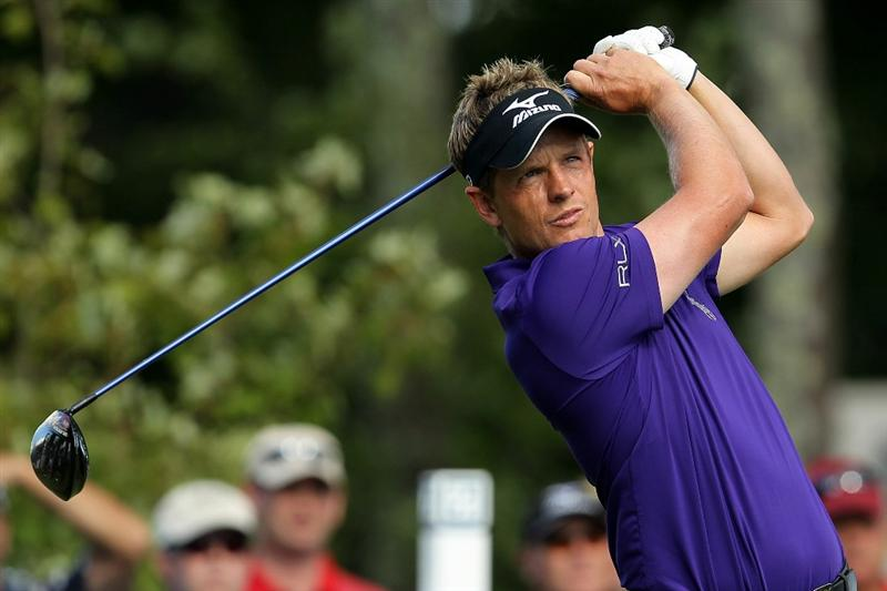 NORTON, MA - SEPTEMBER 05:  Luke Donald of England tees off on the 12th hole during the third round of the Deutsche Bank Championship at TPC Boston on September 5, 2010 in Norton, Massachusetts.  (Photo by Mike Ehrmann/Getty Images)