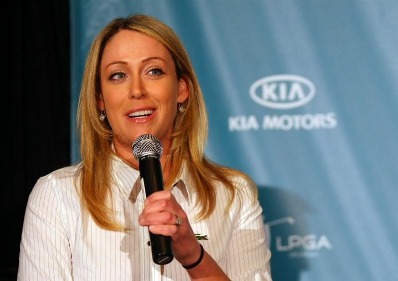 CITY OF INDUSTRY, CA - FEBRUARY 01:  LPGA Player Cristie Kerr speaks during Kia Classic Media Day at Pacific Palms Resort on February 1, 2011 in City of Industry, California.  (Photo by Victor Decolongon/Getty Images)