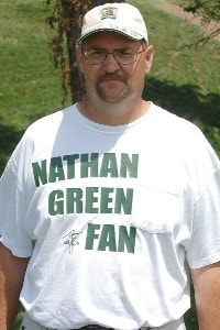 SILVIS, IL - JULY 14:  Nathan Green fan during the third round of The John Deere Classic at the TPC Deere Run on July 14, 2007 in Silvis, Illinois.   (Photo by Marc Feldman/WireImage) PGA TOUR - 2007 John Deere Classic - Third RoundPhoto by Marc Feldman/WireImage)