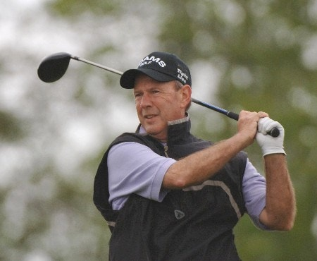 Larry Nelson watches his drive off the ninth tee during the second round of the 2005 Liberty Mutual Legends of Golf Tournament, April 23, 2005 in Savannah, Ga.Photo by Al Messerschmidt/WireImage.com