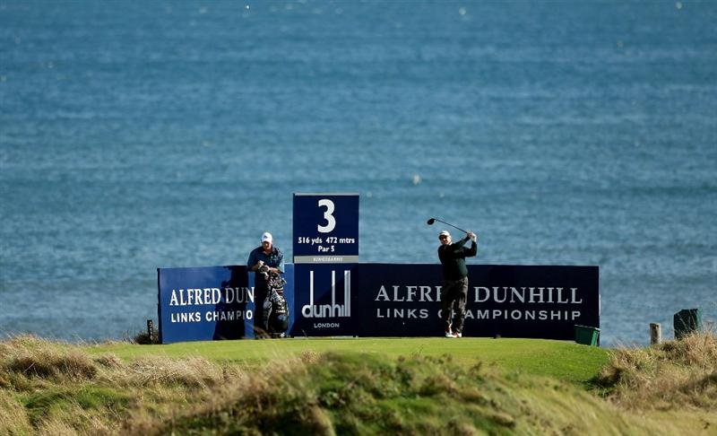 KINGSBARNS, SCOTLAND - OCTOBER 06:  Peter O'Malley of Australia drives off the third tee during the practice round of The Alfred Dunhill Links Championship at Kingsbarns Golf Links on October 6, 2010 in St Andrews, Scotland.  (Photo by Warren Little/Getty Images)