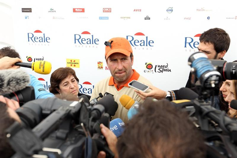 BARCELONA, SPAIN - MAY 07:  Jose Maria Olazabal of Spain faces the press after his round, following news of the death of Seve Ballesteros,  during the third round of the Open de Espana at the Real Club de Golf El Prat on May 7 , 2011 in Barcelona, Spain.  (Photo by Ross Kinnaird/Getty Images)