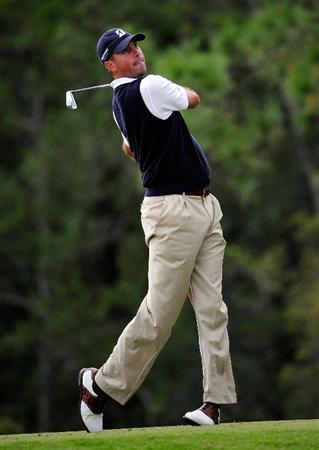 PALM COAST, FL - OCTOBER 31:  Matt Kuchar hits a shot on the 12th hole during the second round of the Ginn sur Mer Classic at the Conservatory Golf Club on October 31, 2008 in Palm Coast, Florida.  (Photo by Sam Greenwood/Getty Images)