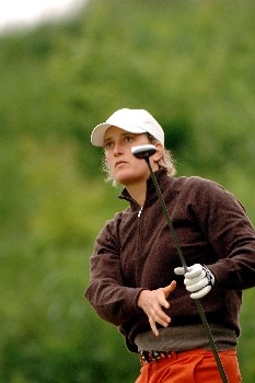 Giulia Sergas follows a drive   April 30 in  the rain-delayed third  round of the 2005 Franklin American Mortgage Championship in Franklin, TN.Photo by Al Messerschmidt/WireImage.com