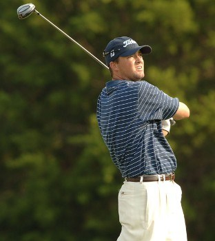 Ryan Palmer hits from the ninth tee during the first round of the 2005 Valero Texas Open at La Cantera in at La Cantera Country Club in San Antonio, Texas September 22, 2005.Photo by Steve Grayson/WireImage.com