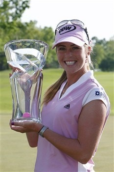 BROKEN ARROW, OK - MAY 04: Paula Creamer holds the trophy after defeating Juli Inkster in a playoff of the SemGroup Championship presented by John Q. Hammons on May 4, 2008 at Cedar Ridge Country Club in Broken Arrow, Oklahoma. (Photo by G. Newman Lowrance/Getty Images)