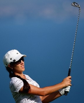 EVIAN, FRANCE - JULY 27:  Nikki Garrett of Australia hits her second shot on the fifth hole during the second round of the Evian Masters on July 27, 2007 in Evian, France.  (Photo by Andrew Redington/Getty Images)