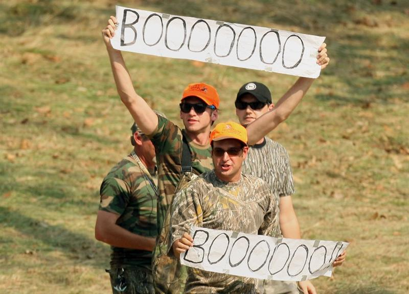 LOUISVILLE, KY - SEPTEMBER 20:  Boo Weekley supporters cheer him on during the afternoon four-ball matches on day two of the 2008 Ryder Cup at Valhalla Golf Club on September 20, 2008 in Louisville, Kentucky.  (Photo by Ross Kinnaird/Getty Images)