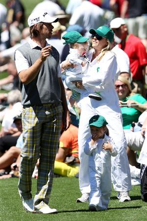 AUGUSTA, GA - APRIL 06:  Aaron Baddeley of Australia chats with his wife Richelle and daughters Jewell and Jolee during the Par 3 Contest prior to the 2011 Masters Tournament at Augusta National Golf Club on April 6, 2011 in Augusta, Georgia.  (Photo by Andrew Redington/Getty Images)