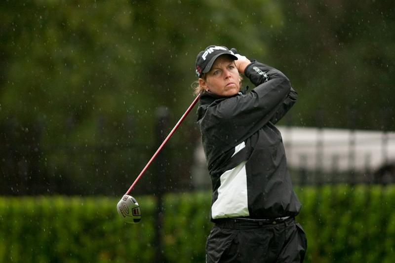 DANVILLE, CA - OCTOBER 17: Wendy Ward follows through on a tee shot during the final round of the CVS/Pharmacy LPGA Challenge at Blackhawk Country Club on October 16, 2010 in Danville, California. (Photo by Darren Carroll/Getty Images)