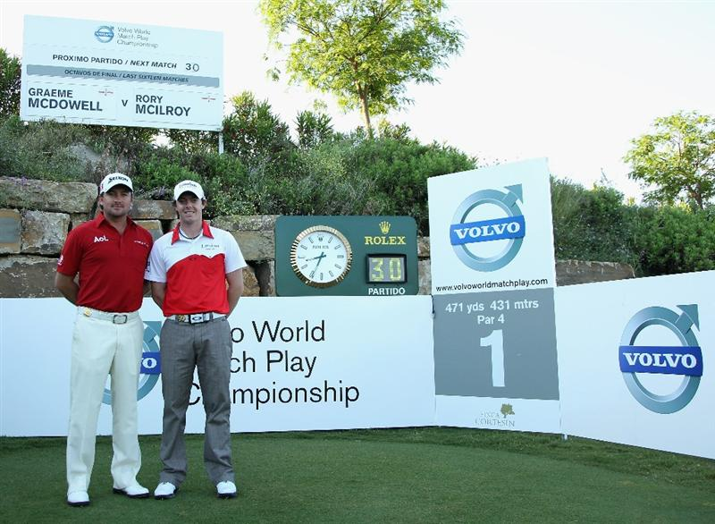 CASARES, SPAIN - MAY 21:  Graeme McDowell of Northern Ireland (left) and Rory McIlroy of Northern Ireland pose for a photograph ahead of their last 16 match at the Volvo World Match Play Championship at Finca Cortesin on May 21, 2011 in Casares, Spain.  (Photo by Andrew Redington/Getty Images)