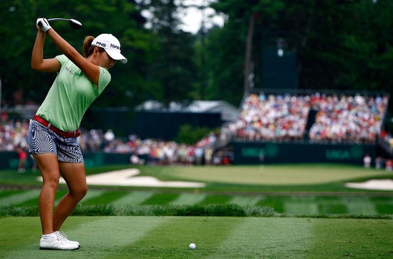 BETHLEHEM, PA - JULY 10:  In-Kyung Kim of South Korea hits her tee shot on the ninth hole during the second round of the 2009 U.S. Women's Open at the Saucon Valley Country Club on July 10, 2009 in Bethlehem, Pennsylvania.  (Photo by Scott Halleran/Getty Images)