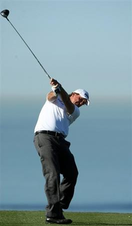 LA JOLLA, CA - JANUARY 28:  Phil Mickelson tees off the 13th hole during the second round of the Farmers Insurance Open at Torrey Pines on January 28, 2011 in La Jolla, California. (Photo by Donald Miralle/Getty Images)