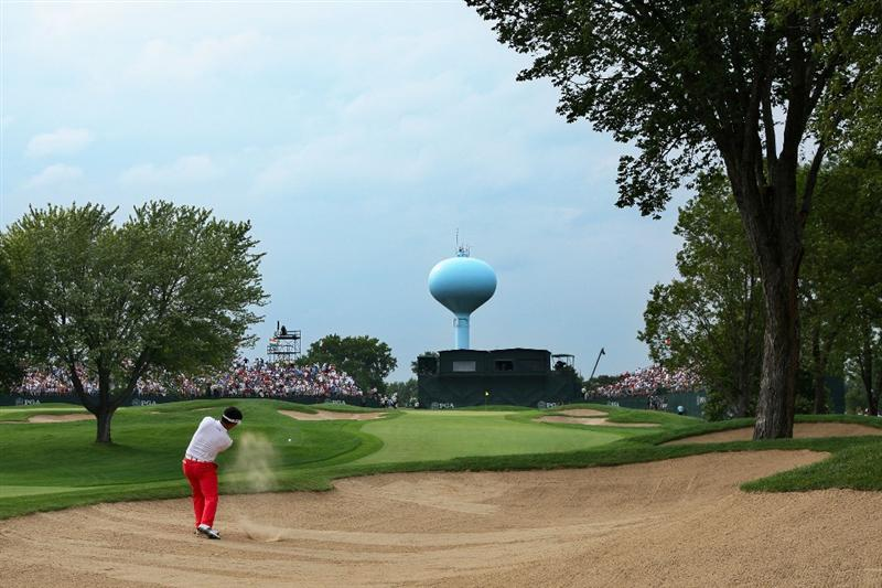 CHASKA, MN - AUGUST 15:  Y.E. Yang of South Korea hits a bunker shot on the 18th hole during the third round of the 91st PGA Championship at Hazeltine National Golf Club on August 15, 2009 in Chaska, Minnesota.  (Photo by David Cannon/Getty Images)