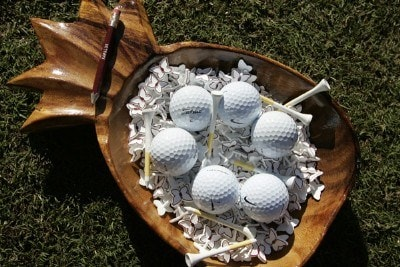 An assortment of  golf items for the players before starting the first round of the Mercedes-Benz Championship held on the Plantation Course at Kapalua in Kapalua, Maui, Hawaii, on January 4, 2007. Photo by: Stan Badz/PGA TOURPhoto by: Stan Badz/PGA TOUR