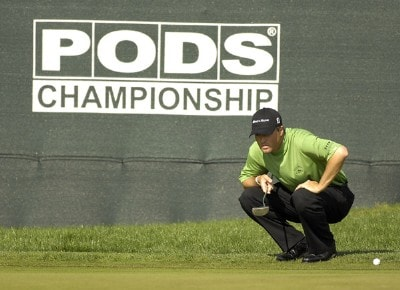 Ryan Palmer reads his putt on the 18th hole during the second round of the Pods Championship on March 9, 2007 at the Innisbrook Resort and Golf Club in Palm Harbor, Florida. Photo by Fred Vuich/WireImage.com