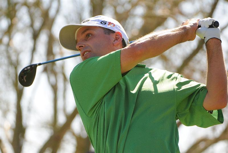 SCOTTSDALE, AZ - OCTOBER 26: Kevin Sutherland tees off the 9th hole during the fourth and final round of  the Fry's.Com Open held at Grayhawk Golf Club on October 26, 2008 in Scottsdale, Arizona. (Photo by Marc Feldman/Getty Images)