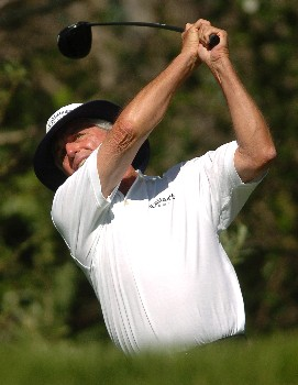 Dave Eichelberger tees off on the 4th hole during the first round of the Champions' Tour 2005 SBC Classic at the Valencia Country Club in Valencia, California March 11, 2005.