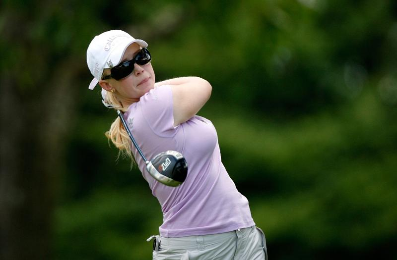 BETHLEHEM, PA - JULY 09:  Morgan Pressel watches her tee shot on the 8th hole during the first round of the 2009 U.S. Women's Open at Saucon Valley Country Club on July 9, 2009 in Bethlehem, Pennsylvania.  (Photo by Streeter Lecka/Getty Images)