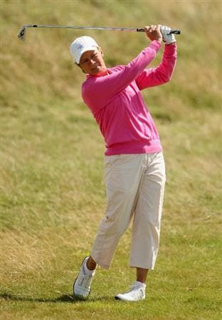 LYTHAM ST ANNES, ENGLAND - AUGUST 02:  Catriona Matthew of Scotland hits her second shot on the 4th hole during the final round of the 2009 Ricoh Women's British Open Championship held at Royal Lytham St Annes Golf Club, on August 2, 2009 in Lytham St Annes, England.  (Photo by Warren Little/Getty Images)