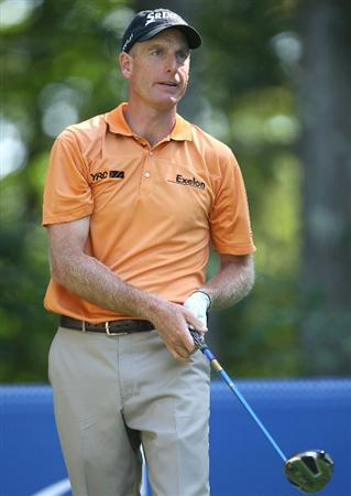 NORTON, MA - SEPTEMBER 4:  Jim Furyk  hits a tee shot during Round One of the 2009 Deutsche Bank Championship In Norton, Massachusetts  on September 5, 2009 in Boston, Massachusetts. (Photo by Jim Rogash/Getty Images)