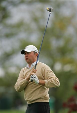 VERNON, NY - OCTOBER 02:  Bo Van Pelt watches his drive during the first round of the Turning Stone Resort Championship at Atunyote Golf Club held on October 2, 2008 in Vernon, New York.  (Photo by Michael Cohen/Getty Images)