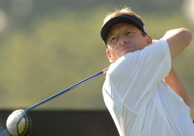 Brad Faxon hits from the 18th tee during the practice round of the 2006 Nissan Open at Rivera Country Club in Pacific Palisades, California February 14, 2006.Photo by Steve Grayson/WireImage.com